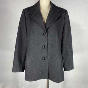 Pritti Dark Grey Wool Blend Peacoat Jacket Sz M